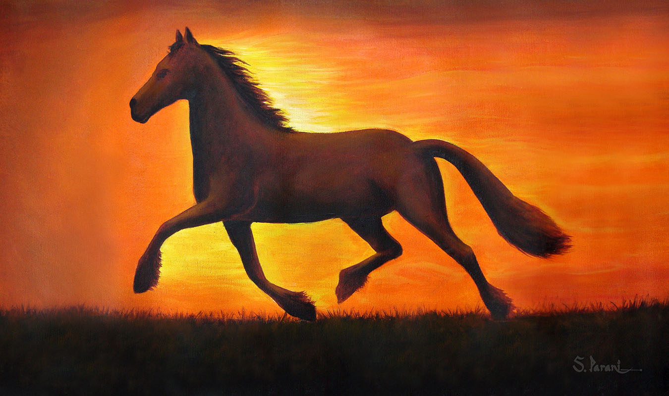 Sunset-Horse (Painted in Photoshop)Acrylic Paintings Sunset